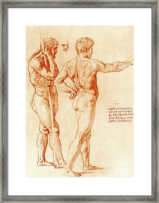 Nude Study Of Two Warriors Framed Print by Raphael
