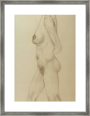Nude Torso Standing Framed Print by Rand Swift