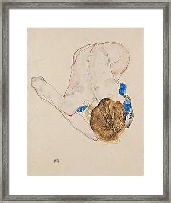 Nude With Blue Stockings, Bending Forward Framed Print