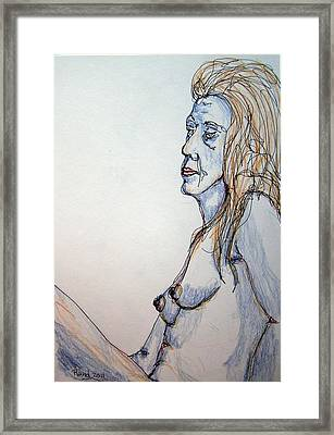 Nude With Blues Framed Print by Rand Swift