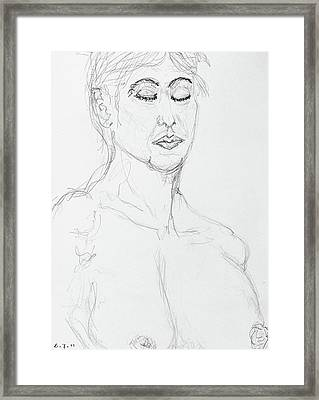 Nude With Eyes Closed Framed Print by Rand Swift