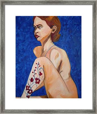 Framed Print featuring the painting Nude With Flower Tatoo by Esther Newman-Cohen