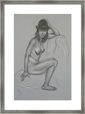 Nude With Hat 1 Framed Print by Donelli  DiMaria