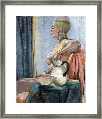Nude With Hooped Earring Framed Print