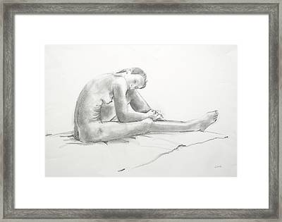 Nude With Long Legs Framed Print by June Schneider