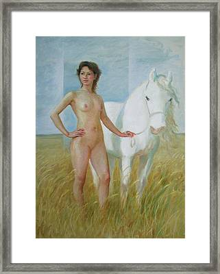 Nude With White Horse Framed Print