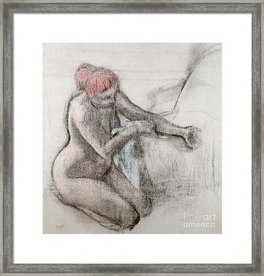 Nude Woman Drying Herself After The Bath Framed Print by Edgar Degas