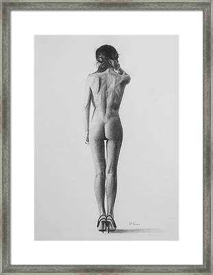 Nude Woman In High Heels Drawing Framed Print