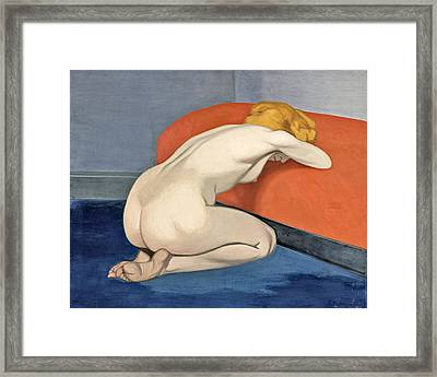 Nude Woman Kneeling In Front Of A Red Couch Framed Print by Felix Vallotton