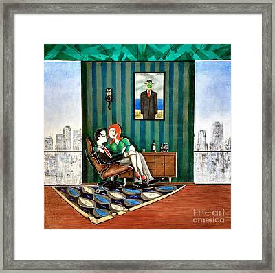 Executive Sitting In Chair With Girl Friday Framed Print by John Lyes