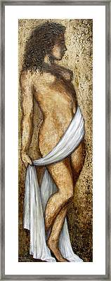 Nude Woman Standing Framed Print by Judy Merrell