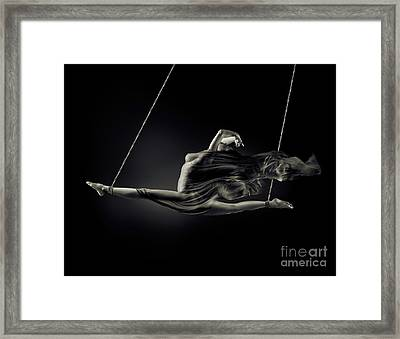 Nude Woman Swinging In Splits In The Air With Bondage Rope And F Framed Print