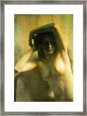 Nude Woman Framed Print by Vincent Monozlay