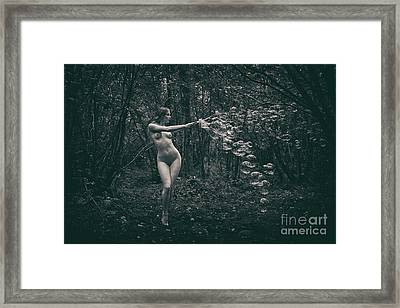 Nude Woman With Lots Of Bubbles Framed Print