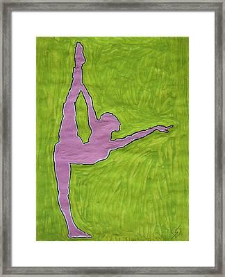 Pink Nude Yoga Girl Framed Print by Stormm Bradshaw
