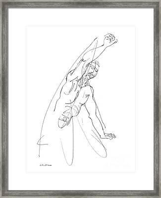 Nude_male_drawing_25 Framed Print by Gordon Punt