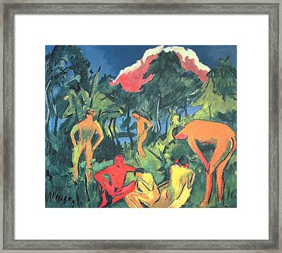Nudes In The Sun, Moritzburg Framed Print by Ernst Ludwig Kirchner