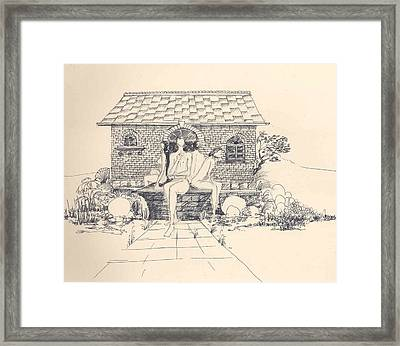 Nudes Some Rocks And A Cottage Framed Print by Padamvir Singh