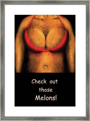 Nudist - Check Out Those Melons - Nudist Grocer Framed Print by Mike Savad