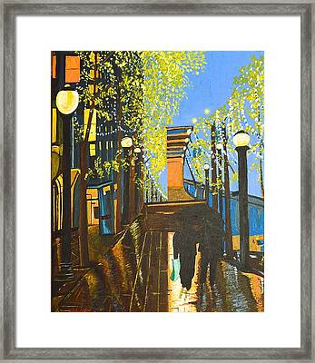 Framed Print featuring the painting Nuit De Pluie by Donna Blossom