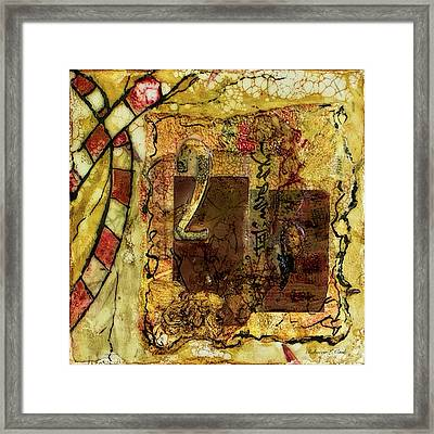 Framed Print featuring the mixed media Number 2 Encaustic Collage by Bellesouth Studio