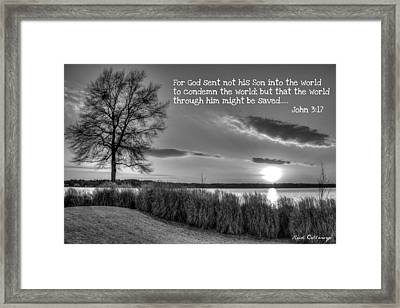 Number 4 The Landing John 3 17 Framed Print by Reid Callaway