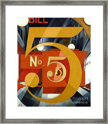 Number 5 In Gold Framed Print by Pg Reproductions