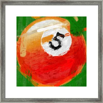 Number Five Billiards Ball Abstract Framed Print by David G Paul