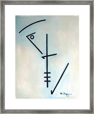Number Five Blue Monk Framed Print by Martel Chapman