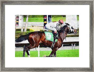 Number Five Horse Framed Print by Clarence Alford