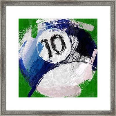 Number Ten Billiards Ball Abstract Framed Print by David G Paul