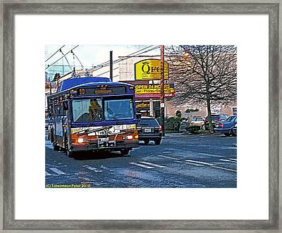 Number Ten Bus Framed Print by Tobeimean Peter