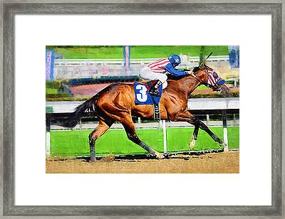 Number Three Horse Framed Print by Clarence Alford