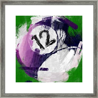 Number Twelve Billiards Ball Abstract Framed Print by David G Paul
