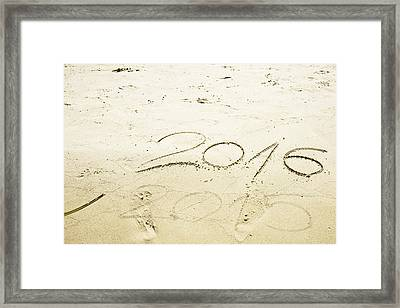 Numbers 2016 And 2015 Written In Sand  Framed Print