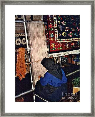Nun Knotting Carpet Framed Print by Sarah Loft