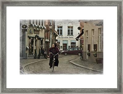 Nun On A Bicycle In Bruges Framed Print