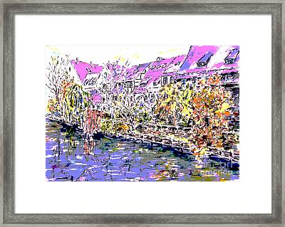 Nuremberg Northern Riverside Of Pegnitz Pop Art Series Framed Print
