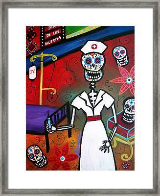 Nurse Dia De Los Muertos Framed Print by Pristine Cartera Turkus