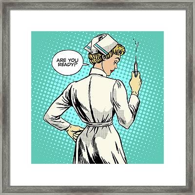 Nurse Makes A Shot Vaccination Framed Print