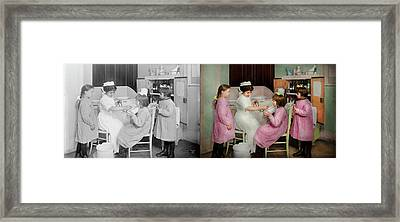 Framed Print featuring the photograph Nurse - Playing Nurse 1918 - Side By Side by Mike Savad