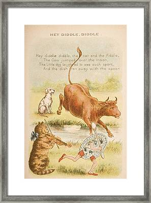 Nursery Rhyme And Illustration Of Hey Framed Print by Vintage Design Pics