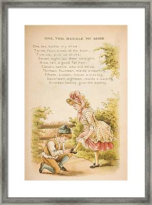 Nursery Rhyme And Illustration Of One Framed Print by Vintage Design Pics