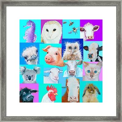 Nursery Wall Art - Collage Of Animals Framed Print