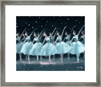 Nutcracker Ballet Waltz Of The Snowflakes Framed Print by Beverly Brown
