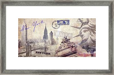 Ny City Framed Print by Jon Neidert