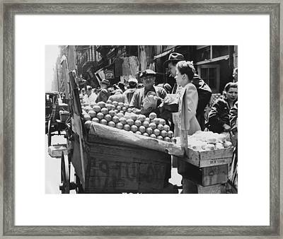 Ny Push Cart Vendors Framed Print by Underwood Archives