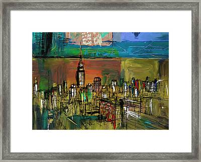 Ny Skyline 270 1 Framed Print by Mawra Tahreem