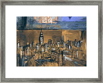 Ny Skyline 270 4 Framed Print by Mawra Tahreem