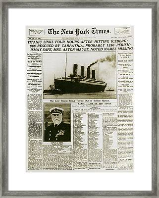 Ny Times, Sinking Of The Titanic, 1912 Framed Print by Photo Researchers